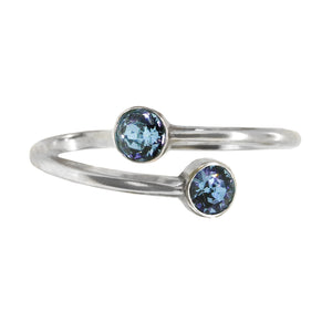 Wind & Fire March Birthstone Sterling Silver Ring Wrap