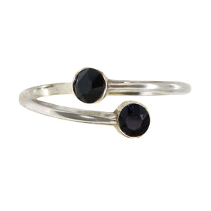 Wind & Fire JET BLACK DIAMOND Sterling Silver Ring Wrap