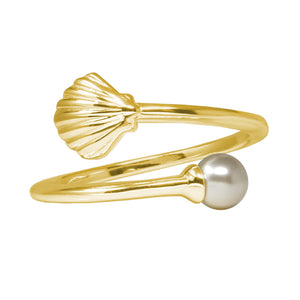 Wind & Fire Shell with Crystal Pearl Sterling Silver Ring Wrap