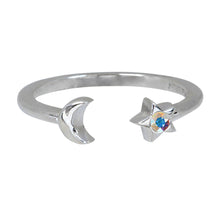 Load image into Gallery viewer, Wind & Fire Moon & Star Sterling Silver Ring Wrap