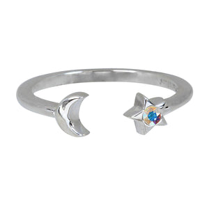 Wind & Fire Moon & Star Sterling Silver Ring Wrap