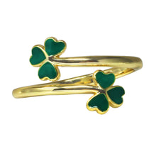 Load image into Gallery viewer, Wind & Fire Shamrocks Sterling Silver Ring Wrap