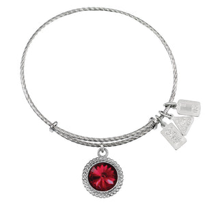 Wind & Fire January Birthstone Sterling Silver Charm Bangle