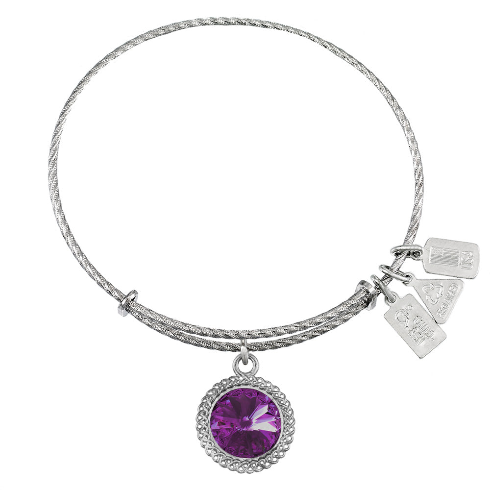Wind & Fire February Birthstone Sterling Silver Charm Bangle