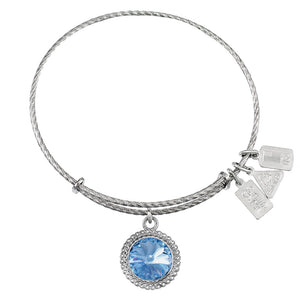 Wind & Fire March Birthstone Sterling Silver Charm Bangle