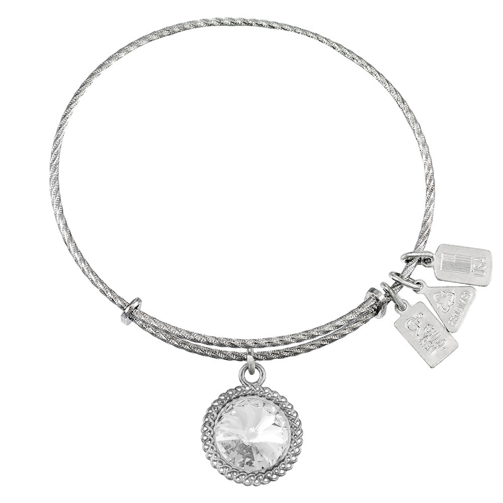 Wind & Fire April Birthstone Sterling Silver Charm Bangle