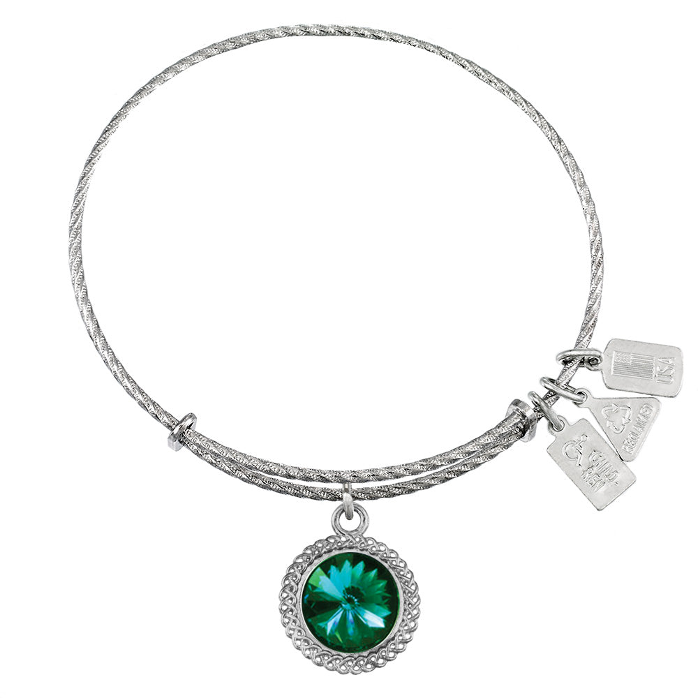 Wind & Fire May Birthstone Sterling Silver Charm Bangle