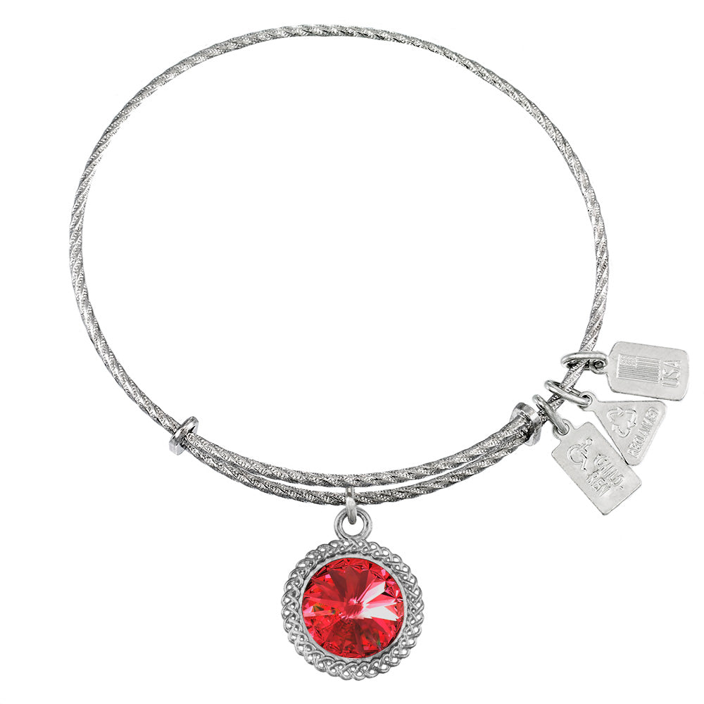 Wind & Fire July Birthstone Sterling Silver Charm Bangle