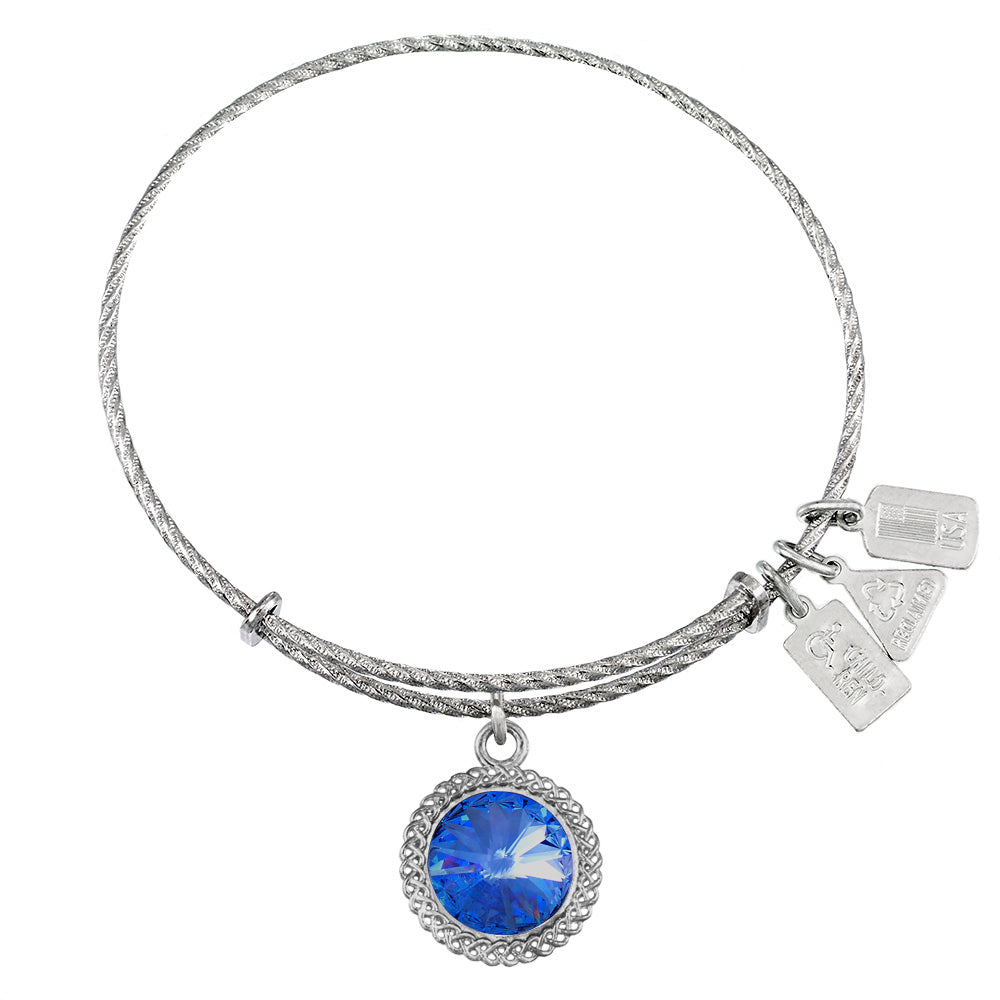 Wind & Fire September Birthstone Sterling Silver Charm Bangle