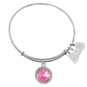 Wind & Fire October Birthstone Sterling Silver Charm Bangle
