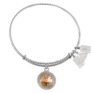 Wind & Fire November Birthstone Sterling Silver Charm Bangle