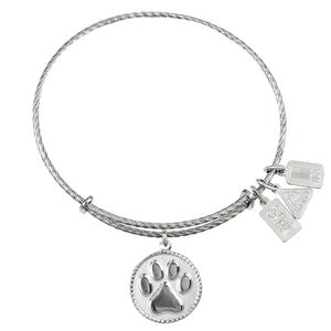 Wind & Fire Paw Print Sterling Silver Charm Bangle