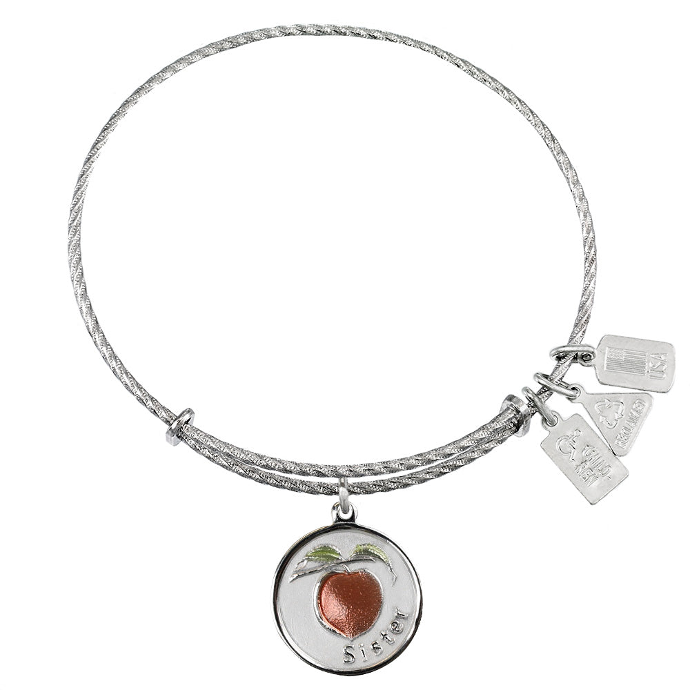 Wind & Fire Sister w/ Peach Sterling Silver Charm Bangle