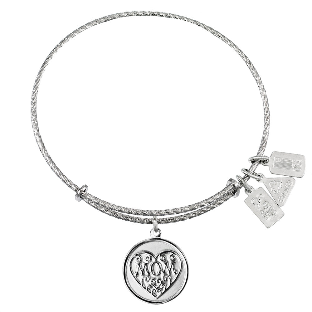 Wind & Fire Mom Filigree Heart Sterling Silver Charm Bangle