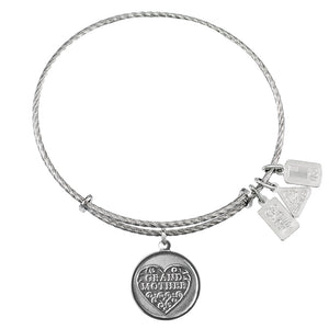 Wind & Fire Grandmother Filigree Heart Sterling Silver Charm Bangle