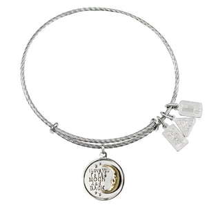 Wind & Fire I Love You to the Moon and Back Sterling Silver Charm Bangle