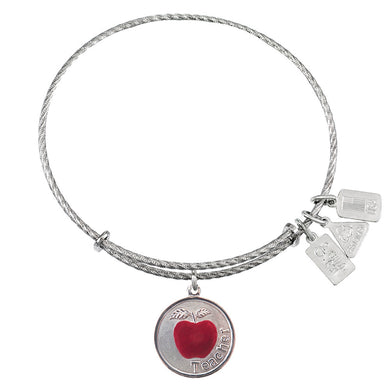 Wind & Fire Teacher w/Apple Sterling Silver Charm Bangle