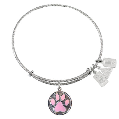 Wind & Fire Paw Print, Pink Enamel Sterling Silver Charm Bangle