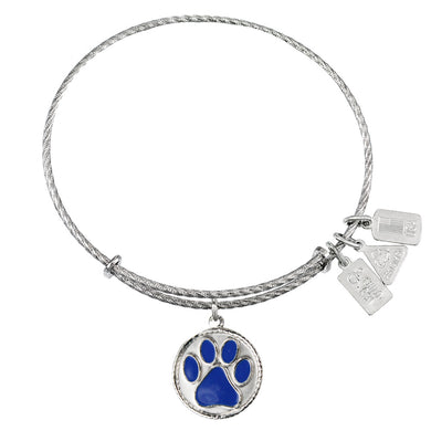 Wind & Fire Paw Print, Dark Blue Enamel Sterling Silver Charm Bangle