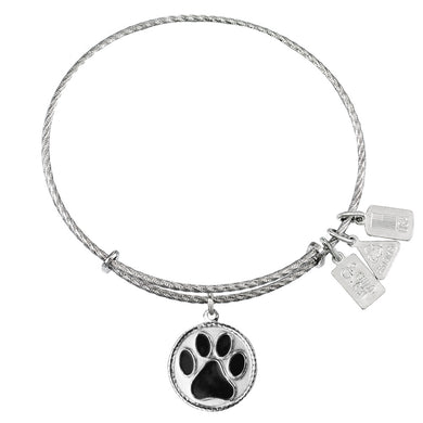 Wind & Fire Paw Print, Black Enamel Sterling Silver Charm Bangle