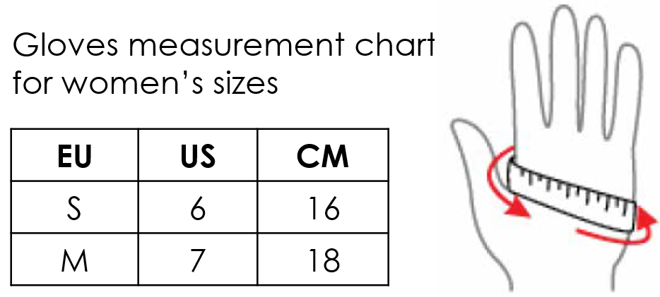 Inari gloves measurement chart for women