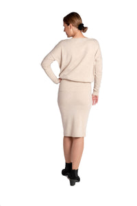 Inari Women's beige cashmere O-neck sweater - back side - 100% high-quality cashmere - Inari-clothing.fi