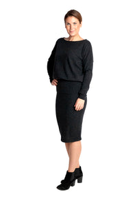 Inari Women's black melange cashmere O-neck sweater - front side - 100% high-quality cashmere - Inari-clothing.fi