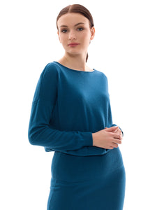 Inari Women's petrol cashmere O-neck sweater - front side - 100% high-quality cashmere - Inari-clothing.fi