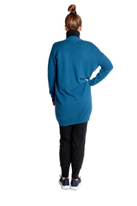 Inari Women's petrol cashmere cardigan - back side - 100% high-quality cashmere - Inari-clothing.fi