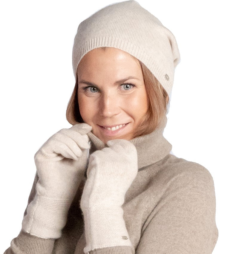 Inari Women's beige cashmere gloves - 100% high-quality cashmere - Inari-clothing.fi