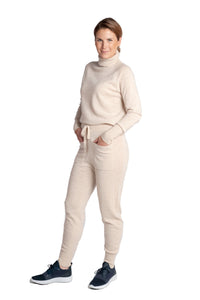Inari Women's beige cashmere pants - front side - 100% high-quality cashmere - Inari-clothing.fi