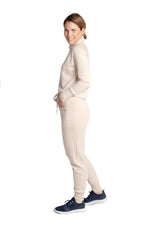 Load image into Gallery viewer, Inari Women's beige cashmere pants - side - 100% high-quality cashmere - Inari-clothing.fi