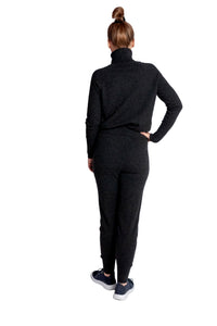 Inari Women's black melange cashmere pants - back side - 100% high-quality cashmere - Inari-clothing.fi