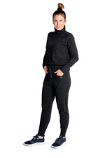 Load image into Gallery viewer, Inari Women's black melange cashmere pants - front side - 100% high-quality cashmere - Inari-clothing.fi
