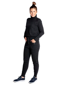 Inari Women's black melange cashmere pants - front side - 100% high-quality cashmere - Inari-clothing.fi