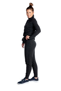 Inari Women's black melange cashmere pants - side - 100% high-quality cashmere - Inari-clothing.fi