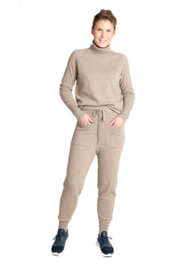 Inari Women's brown cashmere pants - front side - 100% high-quality cashmere - Inari-clothing.fi