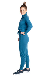 Inari Women's petrol cashmere pants - side - 100% high-quality cashmere - Inari-clothing.fi
