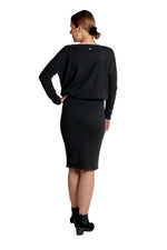 Lataa kuva Galleria-katseluun, Inari Women's black melange cashmere skirt - back side - 100% high-quality cashmere - Inari-clothing.fi
