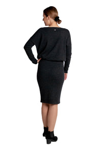 Inari Women's black melange cashmere skirt - back side - 100% high-quality cashmere - Inari-clothing.fi