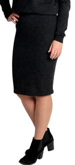 Load image into Gallery viewer, Inari Women's black melange cashmere skirt - front side - 100% high-quality cashmere - Inari-clothing.fi