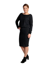 Lataa kuva Galleria-katseluun, Inari Women's black melange cashmere skirt - front side - 100% high-quality cashmere - Inari-clothing.fi