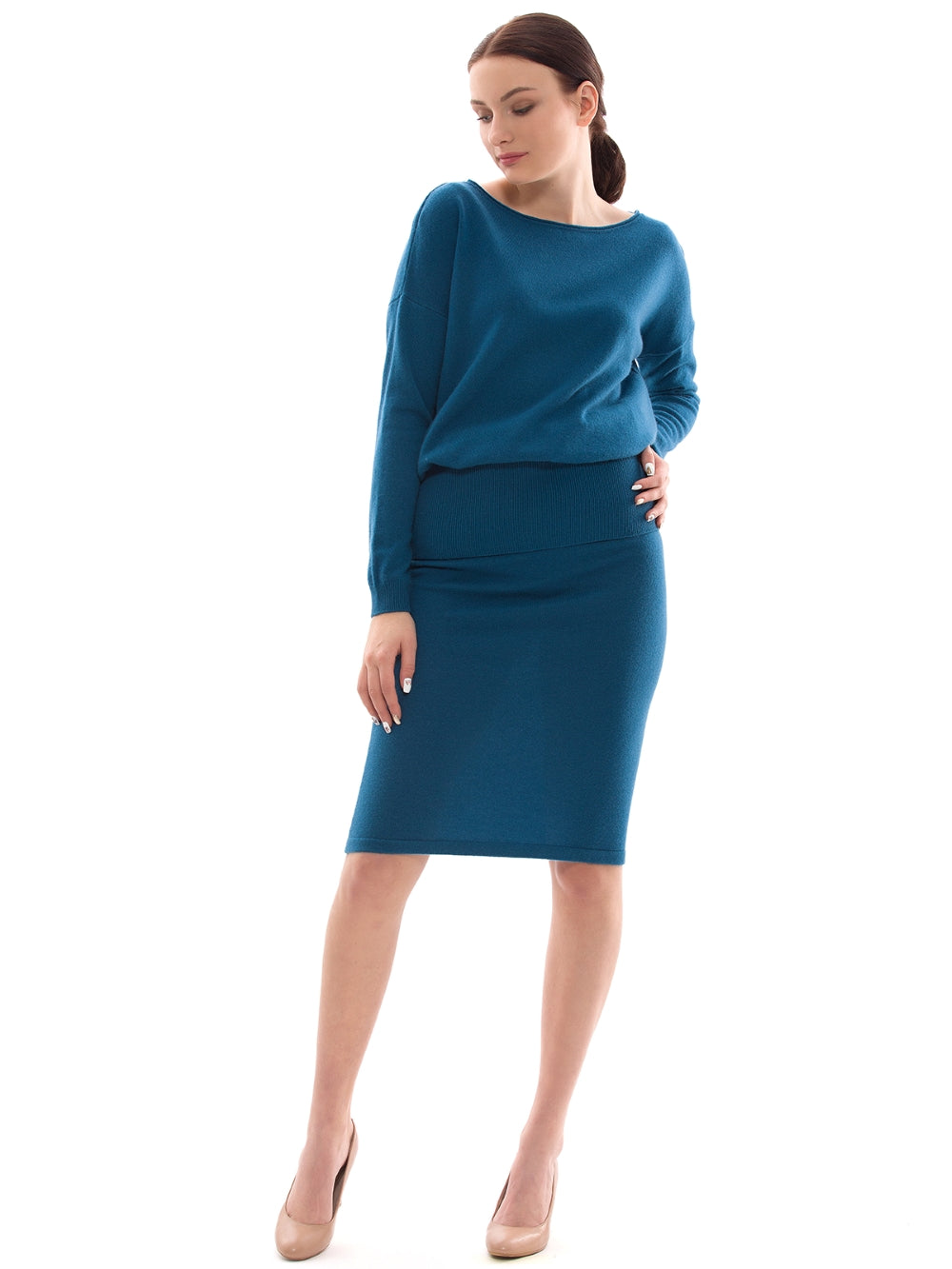Inari Women's petrol cashmere skirt - front side - 100% high-quality cashmere - Inari-clothing.fi