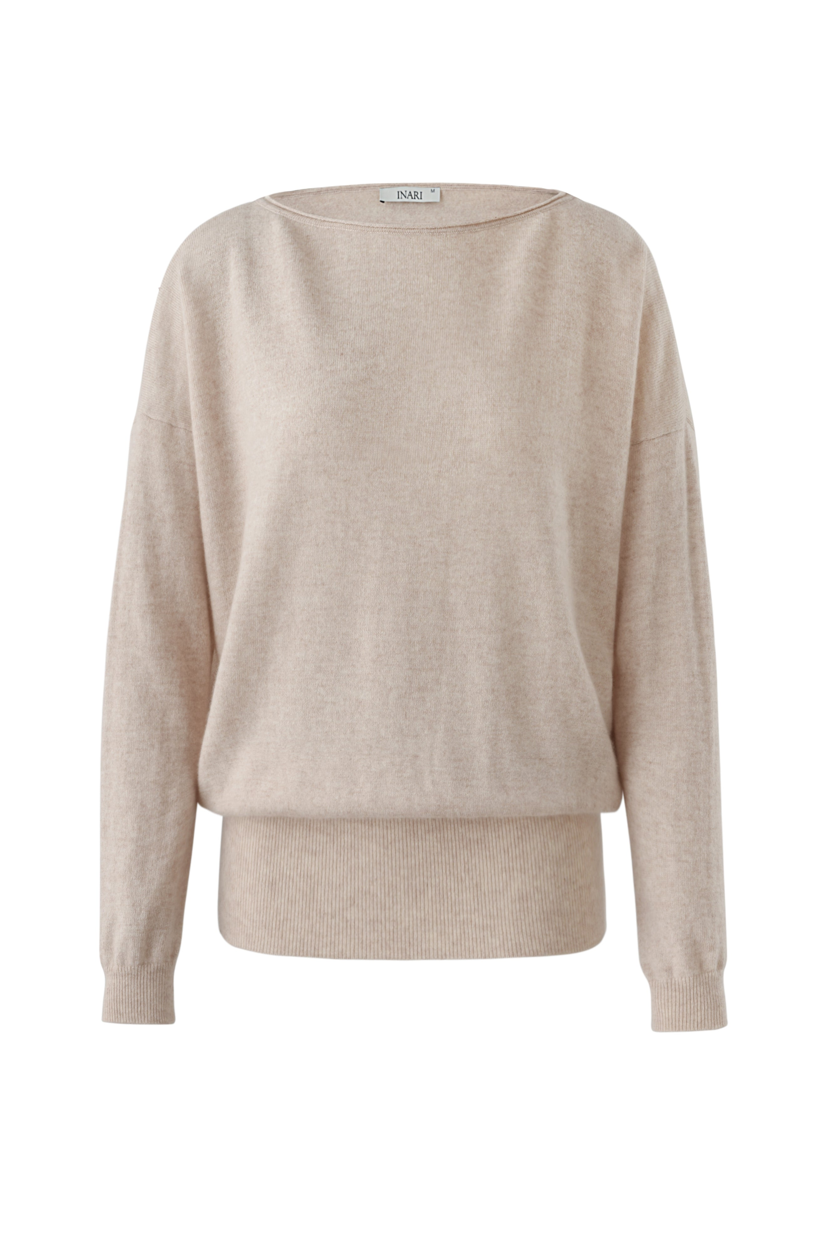 Inari Women's beige cashmere O-neck sweater - front side - 100% high-quality cashmere