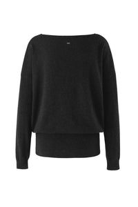 Inari Women's black cashmere O-neck sweater - back side - 100% high-quality cashmere