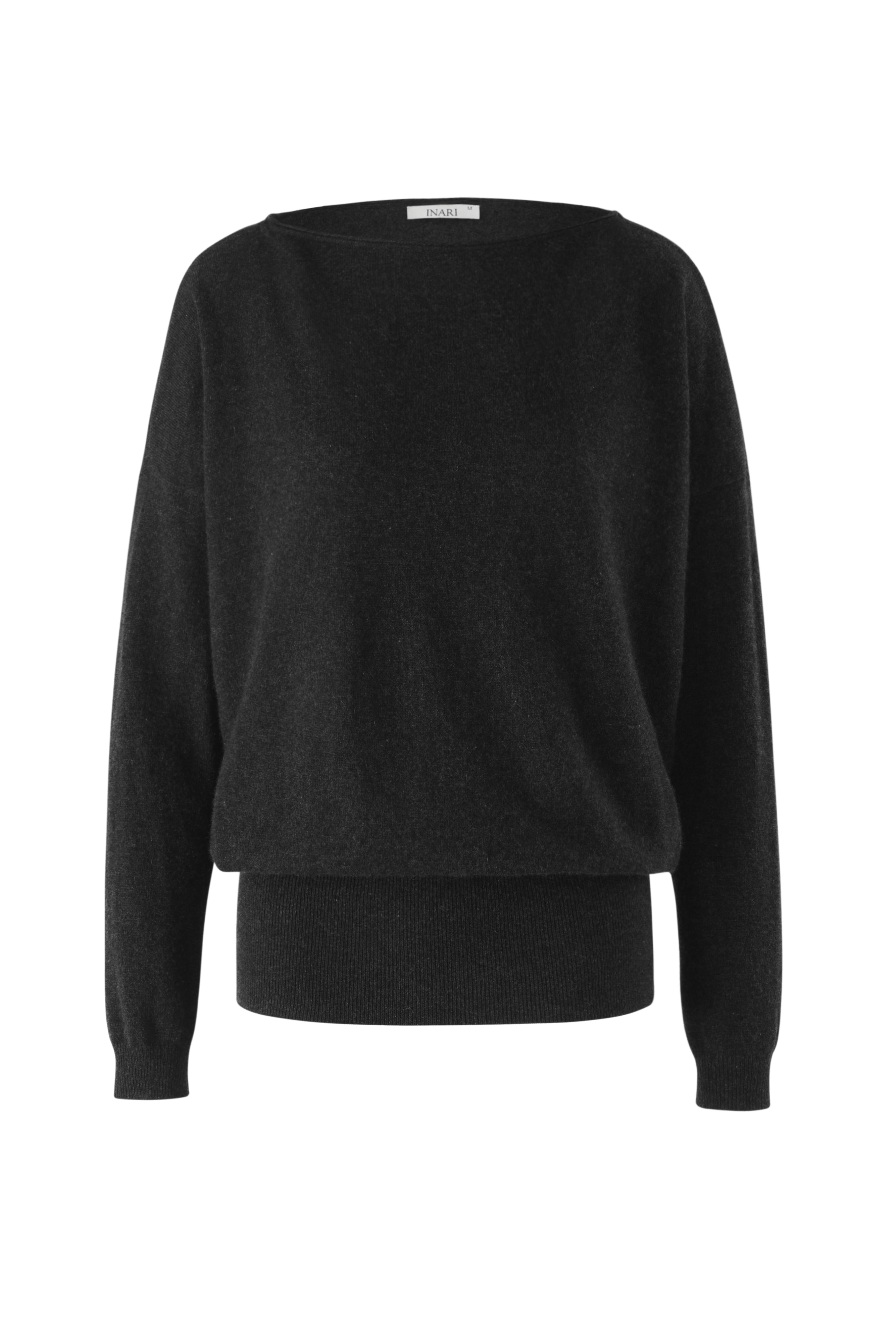 Inari Women's black cashmere O-neck sweater - front side - 100% high-quality cashmere