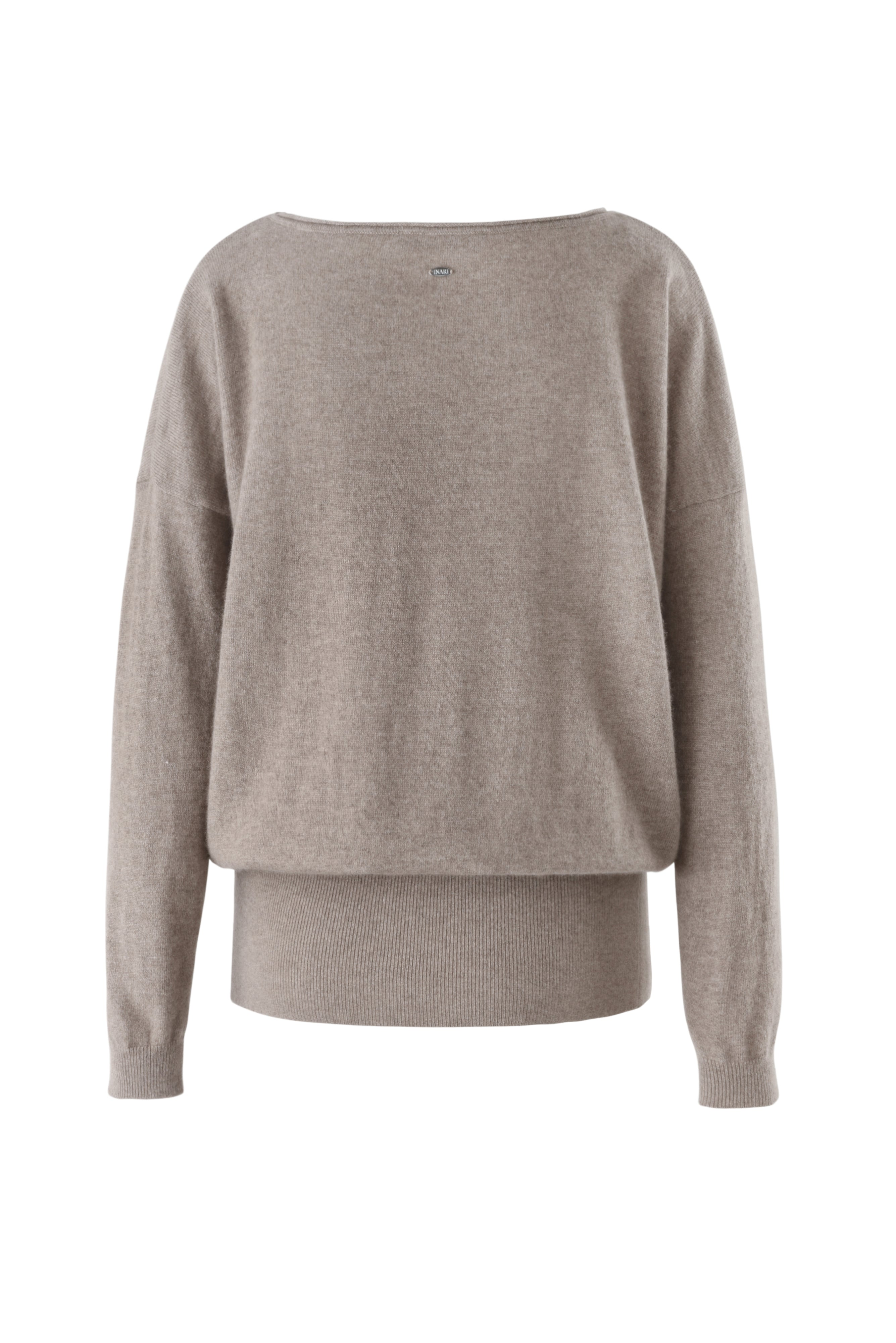 Inari Women's brown cashmere O-neck sweater - back side - 100% high-quality cashmere