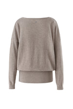 Load image into Gallery viewer, Inari Women's brown cashmere O-neck sweater - back side - 100% high-quality cashmere