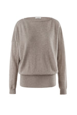 Load image into Gallery viewer, Inari Women's brown cashmere O-neck sweater - front side - 100% high-quality cashmere