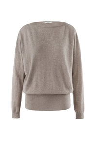Inari Women's brown cashmere O-neck sweater - front side - 100% high-quality cashmere